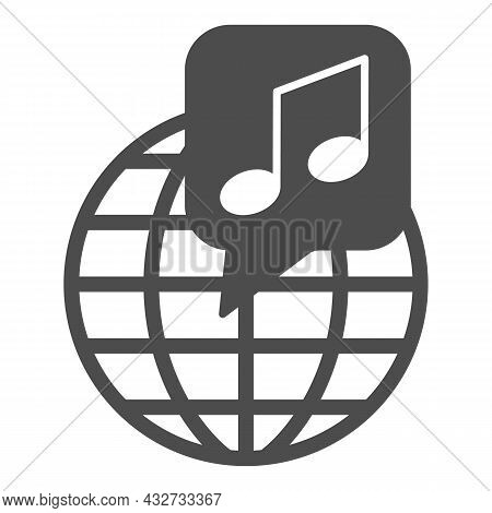 Globe With Note, Music Worldwide Solid Icon, Music Concept, International Music Vector Sign On White