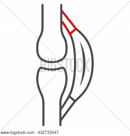 Stretched Tendon Thin Line Icon, Body Pain Concept, Strain Vector Sign On White Background, Outline
