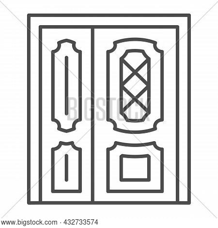 Front Door Thin Line Icon, Interior Design Concept, Main Entrance Vector Sign On White Background, O