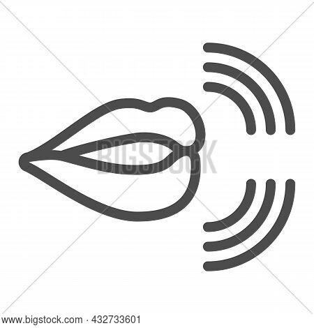 Mouth, Lips, Pronunciation Of Sounds Line Icon, Linguistics Concept, Phonetics Speech Vector Sign On