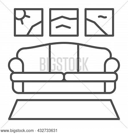 Carpet, Sofa, Panoramic Painting Thin Line Icon, Design Concept, Couch In Living Room Vector Sign On
