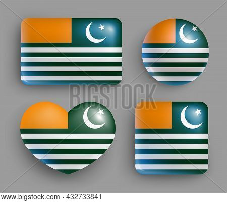 Set Of Azad Kashmir Country Flag Glossy Buttons. Asian Country National Flag, Shiny Geometric Shape