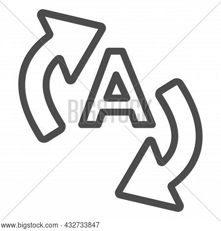 Letter A With Two Arrows, Translation Line Icon, Linguistics Concept, Interpretation Vector Sign On
