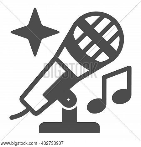 Microphone With Note And Shiny Star Solid Icon, Sound Design Concept, Mic Vector Sign On White Backg