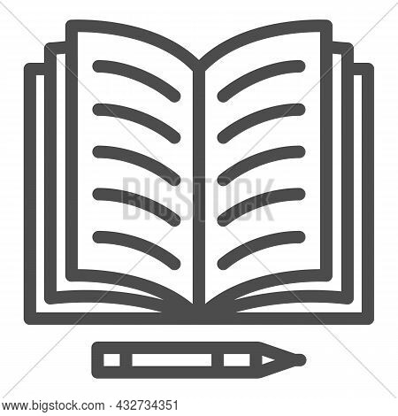 Notes In Open Notebook And Pencil Line Icon, Education Concept, Copy Book And Pen Vector Sign On Whi