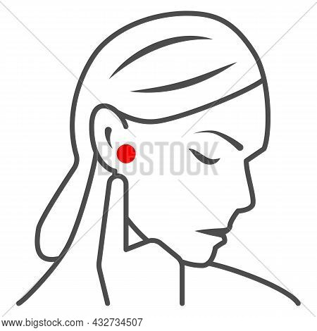 Woman Ear Hurts Thin Line Icon, Body Pain Concept, Person Has Pain In The Ears Vector Sign On White