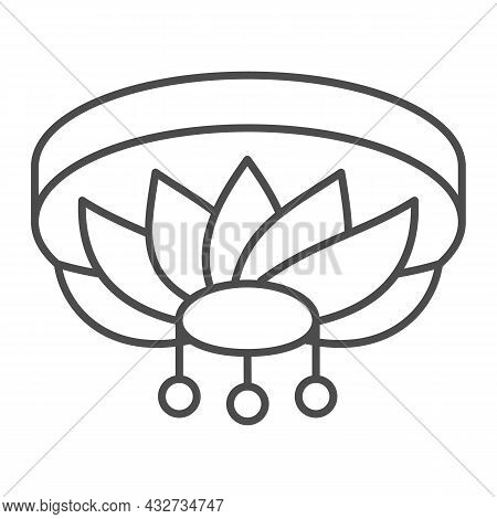 Chandelier Thin Line Icon, Interior Design Concept, Ceiling Lighting Vector Sign On White Background