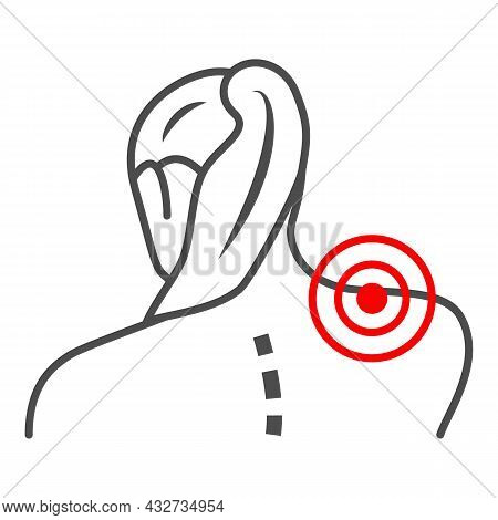 Woman Neck Hurts Thin Line Icon, Body Pain Concept, Neck Pain Vector Sign On White Background, Outli