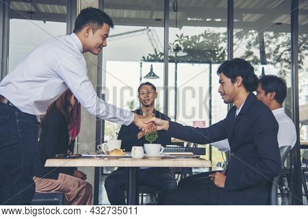 Group Of Business People Meeting In Conference Room Brainstorming Consult Business Document Graph Ch