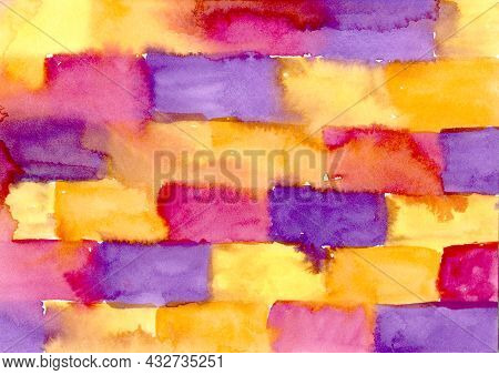 Multicolored Watercolor Hand Drawn Abstract Background. Yellow, Orange, Red, Violet And Purple Color