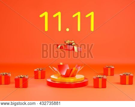 11.11 Single Day Sale. Banner With Red Gift Box On Podium Scene On Red Background, Banner Template D