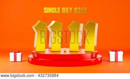 11.11 Single Day Sale. Banner 11 Number On Podium Scene With Gift Box On Red Background, Banner Temp