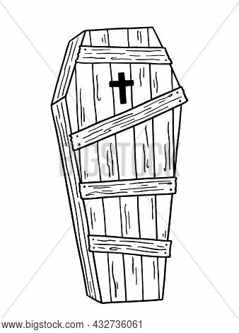 Wooden Boarded Up Coffin With A Cross Isolated On White Background. Hand-drawn Vector Illustration I