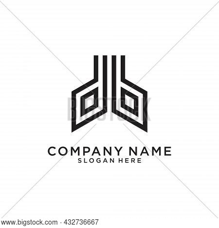 Bd Or Db Letter Logo Design Vector On White Background.