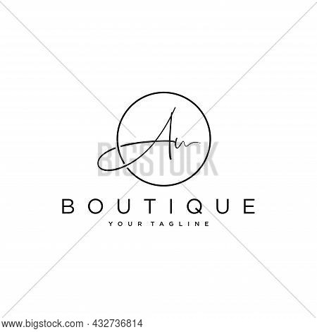 Au Initial Handwriting Logo Vector, Isolated On A White Background