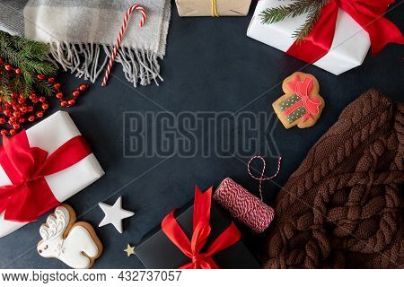 New Year Celebration. Festive Frame. Christmas Decoration. Gift Box Gingerbread Cookie Cozy Warm Kni