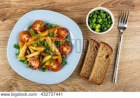Blue Plate With Fried Potato, Green Onion And Tomatoes Cherry, Bowl With Chopped Green Onion, Pieces