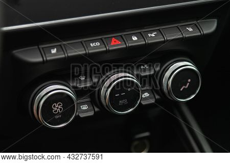 Novosibirsk, Russia - August 19, 2021:  Renault Duster,  Black Detail With The Air Conditioning Butt