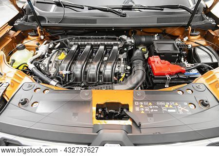 Novosibirsk, Russia - August 19, 2021:  Renault Duster, Under The Hood Of Car. Powerful Engine Close