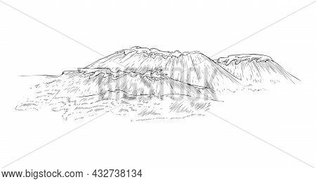 Stormy Sea With Waves And Splashes, Engraving Vector Illustration Isolated.