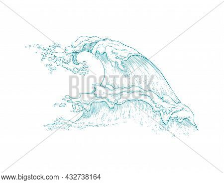 Marine Image Of Giant Sea Wave Hand Drawn Vector Illustration Isolated.