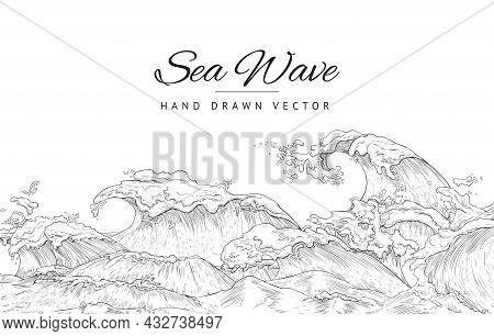 Background Design With Giant Sea Wave In Black Thin Line, Vector Illustration.