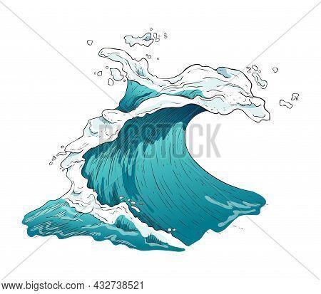 Raging Blue Sea, Ocean Wave With Marine Foam, Splashes And Curls.