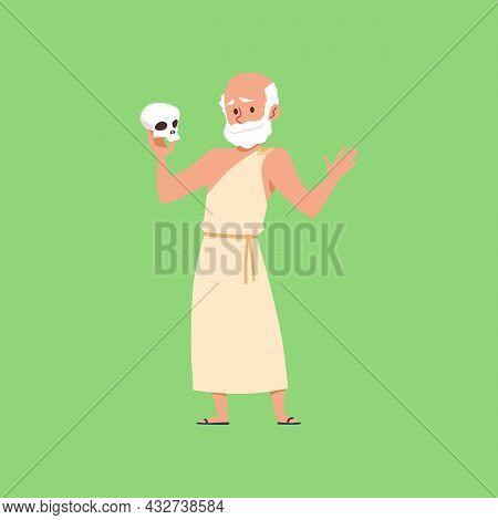 Ancient Greek Philosopher Holding Human Skull, Flat Vector Illustration Isolated.
