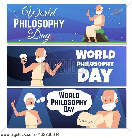 Banners For World Philosophy Day With Antique Greek Philosophers Or Scientists