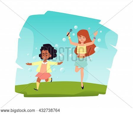 Cheerful Child Girl Blowing Soap Bubbles, Flat Vector Illustration Isolated.