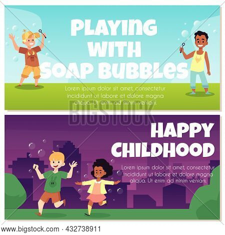 Colorful Banners With Fun Kids Blowing Soap Bubbles And Playing With It Outdoors