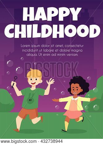 Poster With Happy Children Blow And Playing With Flying Soap Bubbles Outdoors.