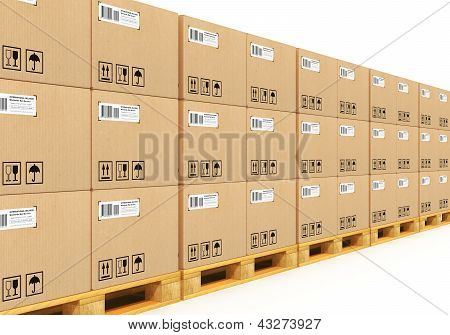 Stacked cardbaord boxes on shipping pallets