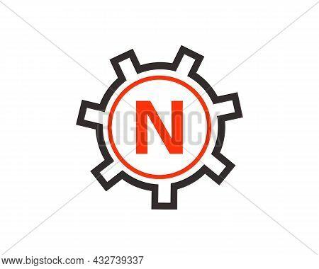 Gear Logo On Letter N. Initial N Gear Letter Logo Design Template. N Gear Engineer Logo