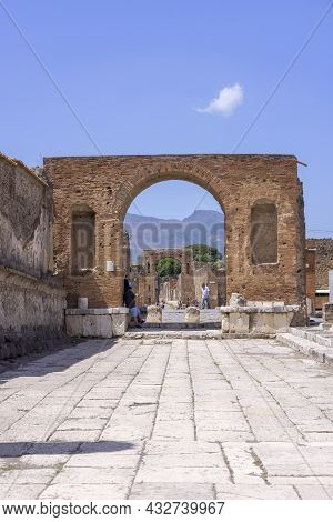 Pompeii, Naples, Italy - June 26, 2021: Forum Of City Destroyed By The Eruption Of The Volcano Vesuv