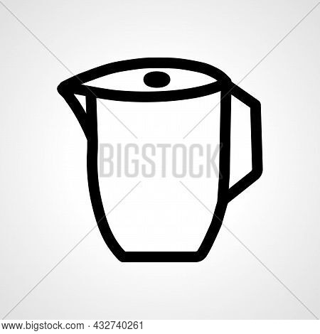Electric Kettle Vector Line Icon. Electric Kettle Linear Outline Icon.