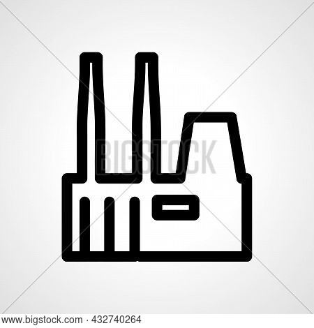 Factory Vector Line Icon. Factory Linear Outline Icon.