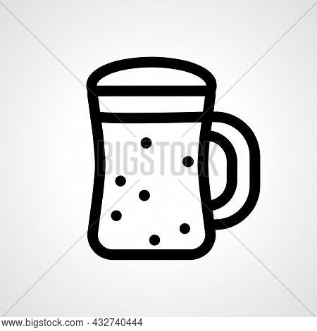 Beer Glass Vector Line Icon. Beer Glass Linear Outline Icon.