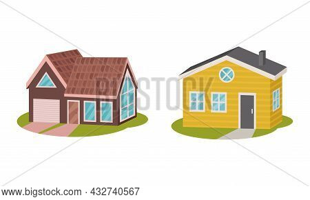 Private House And Cottage As Cosy Dwelling Rested On Green Lawn Vector Set