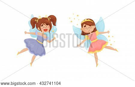 Cute Fairy Or Pixie With Etherial Wings And Tiara Holding Magic Wand Vector Set