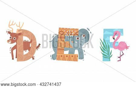 Animal Alphabet Capital Letter With Deer And Elephant Vector Set