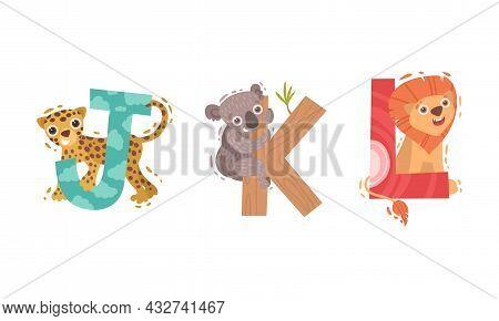 Animal Alphabet Capital Letter With Jaguar And Koala Vector Set