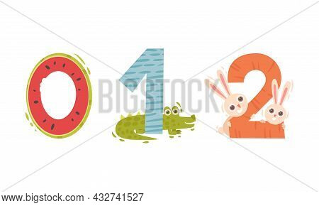 Animal Number And Numeral With Crocodile And Hare Vector Set