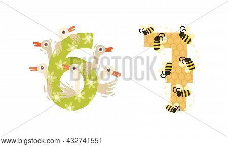 Animal Number And Numeral With Goose And Bee Vector Set