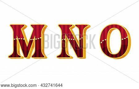 Broadway Style Alphabet Letter With Red And Gold Color Vector Set