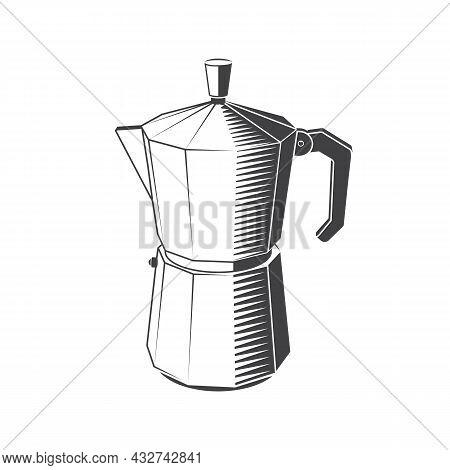 Vintage Black Italian Metallic Coffee Maker On White Background. Vector Illustration. Equipment For