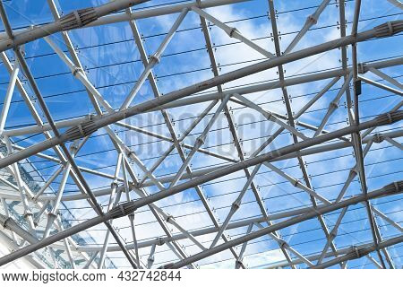Abstract Contemporary Architecture Background, Structure Of A Glass Roof With Metal Frame