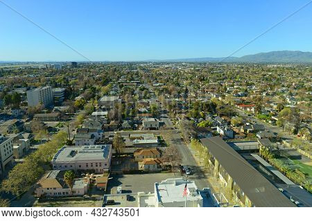 Aerial View Of San Jose Historic City Center And Residential Area Landscape In Summer, From Top Of T