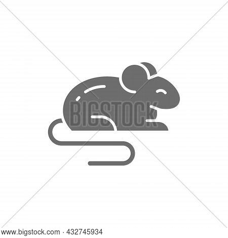 Mouse, Rat, Hamster, Rodent, Pet, Animal Grey Icon.