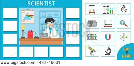 Vector Character Illustration Of Scientist Doing Scientific Research. Game For Preschool Kids. Puzzl